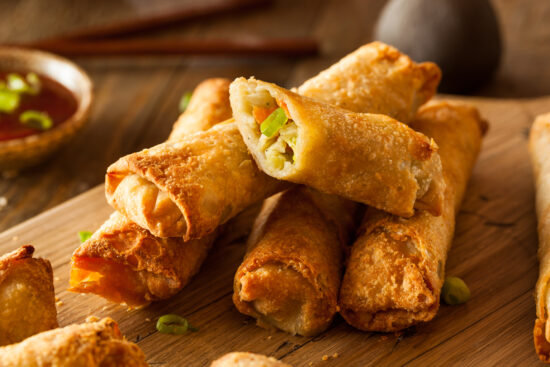 Homemade,Fried,Pork,Eggrolls,With,Dipping,Sauces
